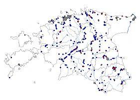 Jäälinnu pesitsusaegsed vaatluskohad (aprillist augustini). Punasega on tähistatud pesaleiud.